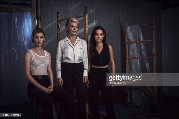 The cast of Terminator Dark Fate Mackenzie Davis Linda Hamilton and Natalia Reyes are photographed for 20th Century Fox on July 17 2019 in Los...