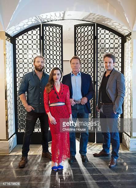 The cast of 'Terminator Genisys' Arnold Schwarzenegger Jason Clarke Emilia Clarke Jai Courtney are photographed for Los Angeles Times on March 22...