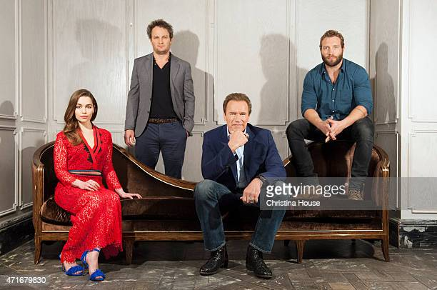 The cast of 'Terminator Genisys' Arnold Schwarzenegger Jason Clarke Emilia Clarke Jai Courtney are photographed for Los Angeles Times on March 22...