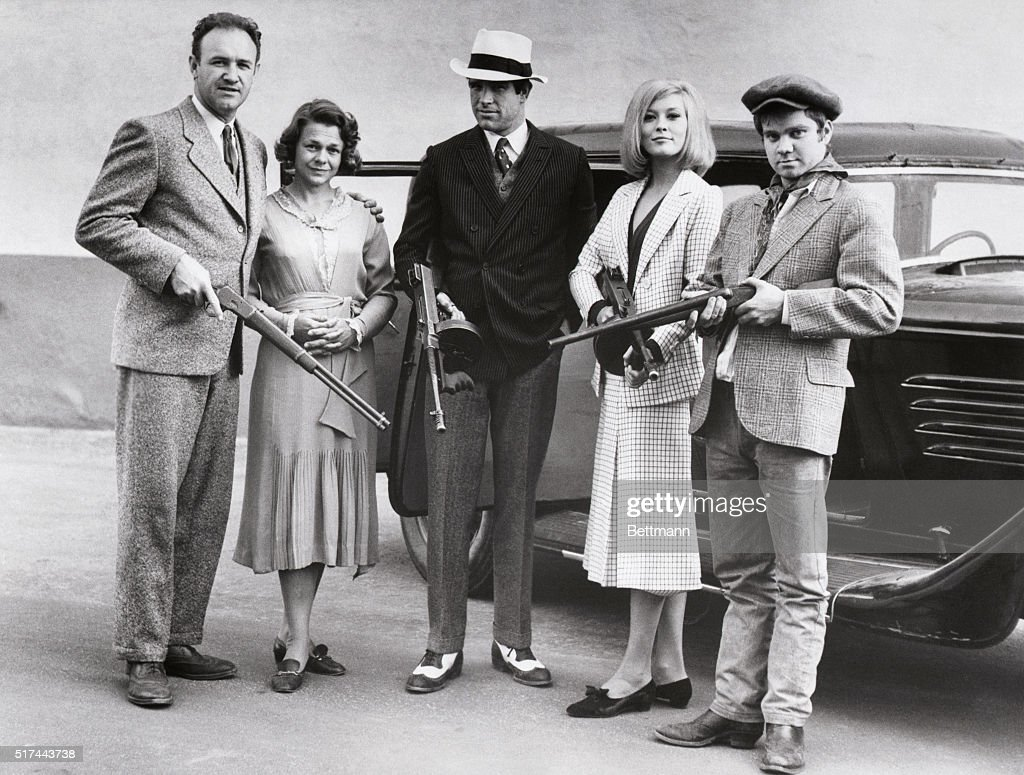 The cast of the 1967 film Bonnie and Clyde posing with guns  From