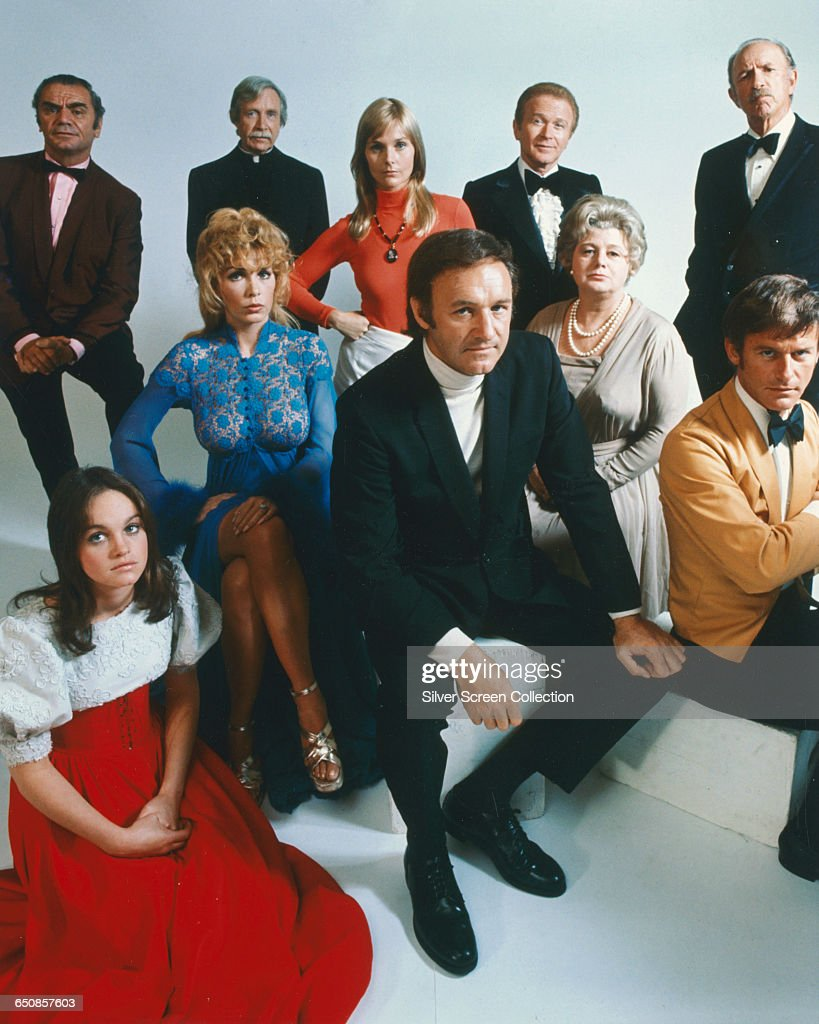 The cast of the 1972 disaster movie 'The Poseidon Adventure'. Clockwise from back left, Ernest Borgnine as Mike Rogo, Arthur O'Connell as Chaplain John, Carol Lynley as Nonnie Perry, Red Buttons as James Martin, Jack Albertson as Manny Rosen, Roddy McDowall as Acres, Shelley Winters as Belle Rosen, Gene Hackman as Reverend Scott, Stella Stevens as Linda Rogo, and Pamela Sue Martin as Susan Shelby.