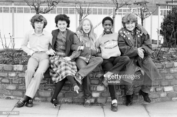The cast of the BBC children's television series Grange Hill Left to right Mark Baxter Mandy Mealing Carey Born Mark Bishop and Peter Moran 25th...