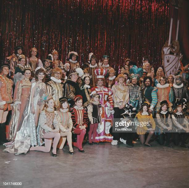 The cast of the BBC Christmas pantomime 'Dick Whittington' 23rd November 1972 Comedian Dick Emery plays Sarah the Cook singer Peter Noone plays Dick...