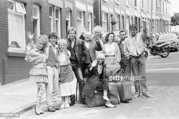 The cast of the BBC hit comedy Bread during a break in filming in Elswick Street Dingle filming the 11th July 1987