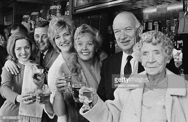 The cast of the BBC radio serial drama 'The Dales' celebrate the recording of the show's last episode after a run of twentyone years 17th April 1969...