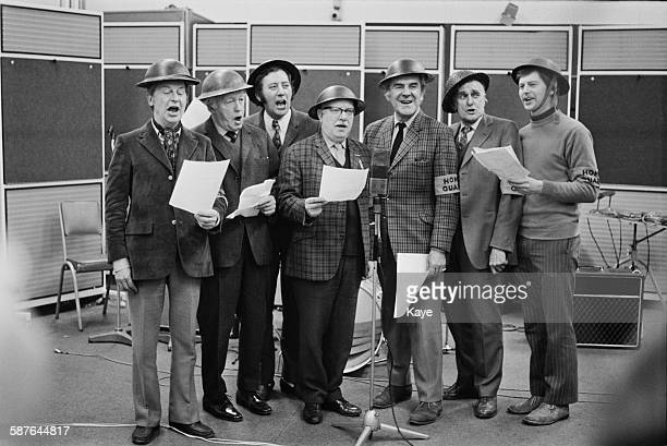 The cast of the BBC television sitcom 'Dad's Army' in rehearsal 4th February 1971 Left to right Clive Dunn Arnold Ridley James Beck Arthur Lowe John...