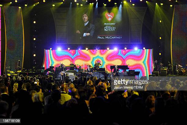 The cast of the Beatles LOVE by Cirque du Soleil perform onstage at the 2012 MusiCares Person of the Year Tribute to Paul McCartney held at the Los...