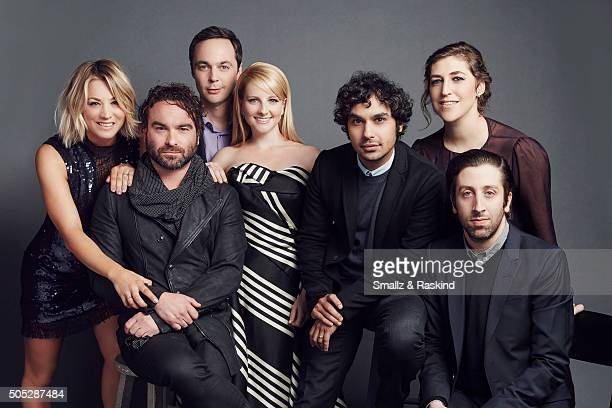 The cast of 'The Big Bang Theory' Melissa Rauch Johnny Galecki Kaley Cuoco Simon Helberg Jim Parsons Mayim Bialik and Kunal Nayyar pose for a...