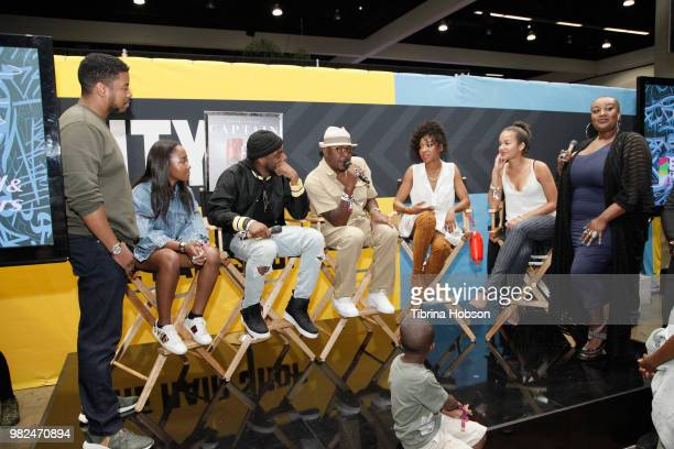 The cast of 'The Bobby Brown Story' speaks at the House of Fashion Beauty during the 2018 BET Experience at Los Angeles Convention Center on June 23...