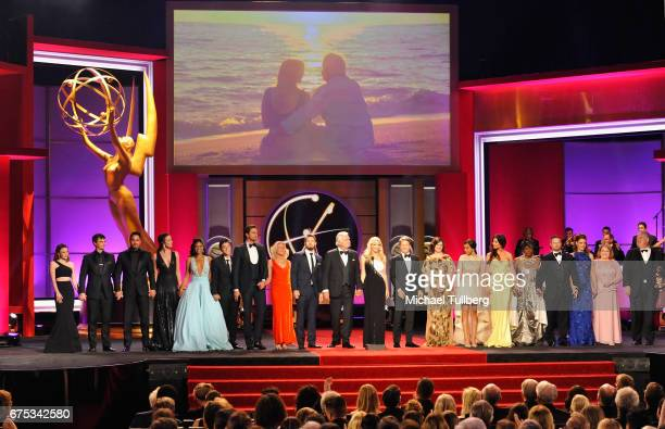 The cast of 'The Bold and the Beautiful' reunite on stage and take a bow at the 44th annual Daytime Emmy Awards at Pasadena Civic Auditorium on April...