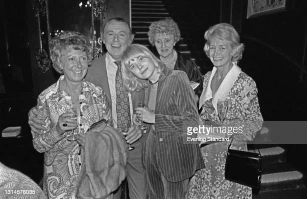 The cast of the British television sitcom 'Father Dear Father', UK, 21st September 1973. From left to right, actors Noel Dyson, Patrick Cargill,...
