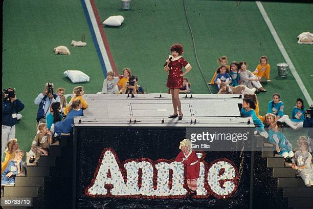 The cast of the Broadway musical 'Annie' performed prior to the Washington Redskins taking on the Buffalo Bills in Super Bowl XXVI at the Metrodome...