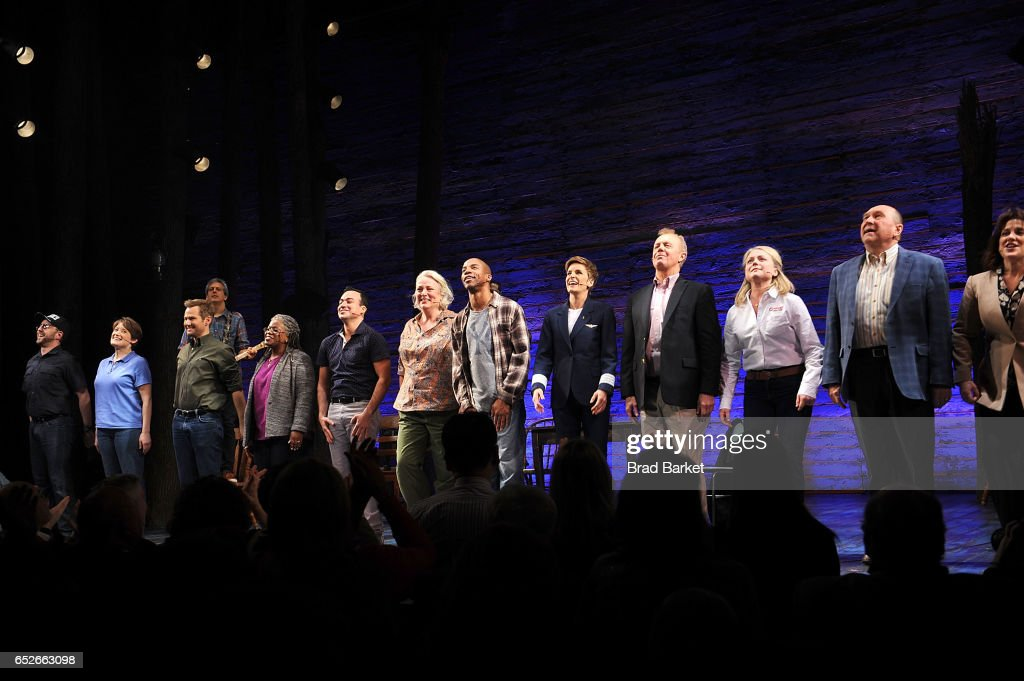 The cast of the 'Come From Away' Broadway Opening Night Curtain Call at Gerald Schoenfeld Theatre on March 12, 2017 in New York City.