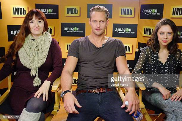 The cast of 'The Diary of a Teenage Girl' Marielle Heller Alexander Skarsgard and Bel Powley attend the IMDb Amazon Instant Video Studio at the...