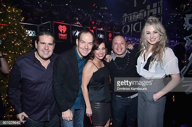 The cast of 'The Elvis Duran Z100 Morning Show' attends Z100's Jingle Ball 2015 at Madison Square Garden on December 11 2015 in New York City