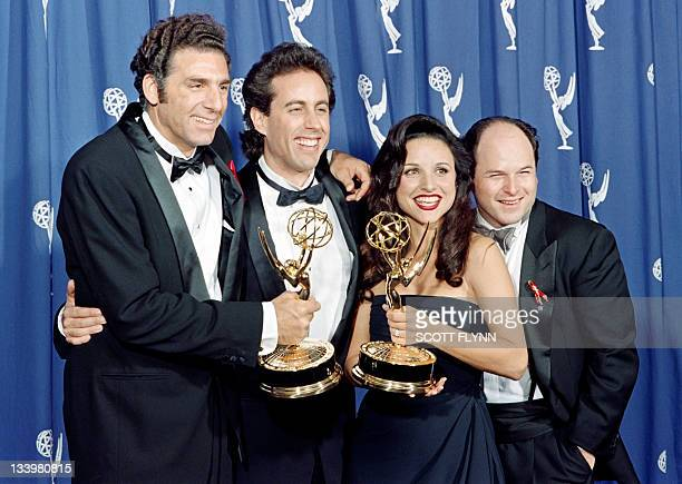 The cast of the Emmywinning Seinfeld show pose with the Emmys they won for Outstanding Comedy Series on September 19 1993 in Pasadena CA From left to...