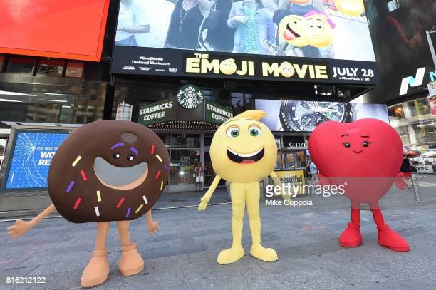 The Cast Of The Emoji Movie Celebrates World Emoji Day On Good Morning America on July 17 2017 in New York City