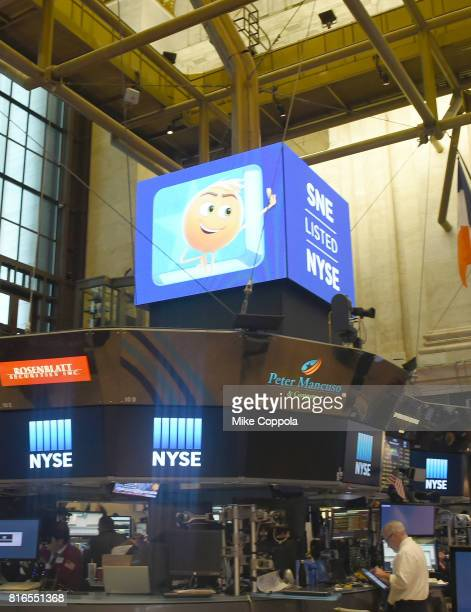 The Cast Of The Emoji Movie Rings The Closing Bell Of The New York Stock Exchange In Honor Of World Emoji Day at New York Stock Exchange on July 17...