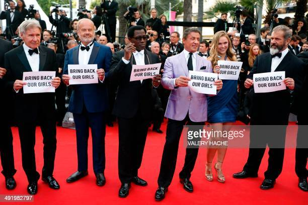 The cast of 'The Expendables 3' US actor Harrison Ford US actor Kelsey Grammer US actor Wesley Snipes US actor Sylvester Stallone US actress Ronda...
