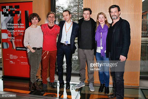 The cast of the film 'Jonathan' with Julia Koschitz Andre Hennicke Jannis Niewoehner Ella Maria Gollmer and Thomas Sarbacher attends the Hessian...