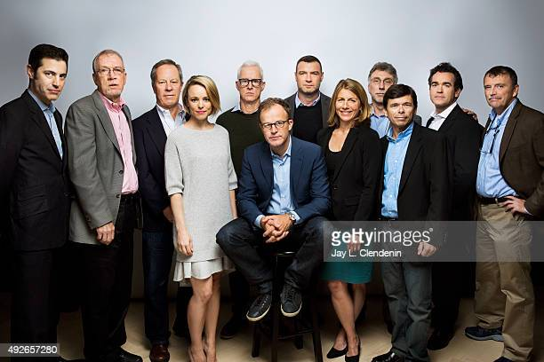 The cast of the film 'Spotlight' including Boston Globe journalists and their acting counterparts from left screenwriter Josh Singer Walter Robinson...