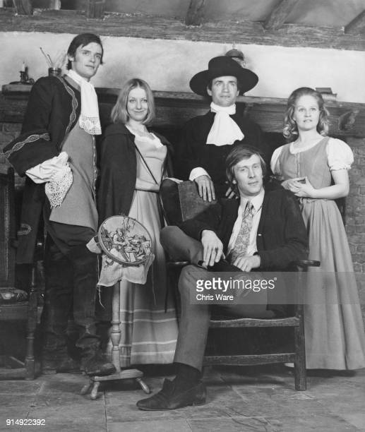 The cast of the film 'The Devil's Touch' later titled 'The Blood on Satan's Claw' pose in 17th century costumes at Pinewood Studios UK at the start...