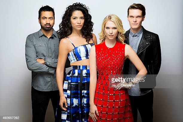 "The cast of the film ""The Girl in the Photographs,"" including from left Kal Penn, Miranda Rae Mayo, Claudia Lee and Luke Baines are photographed for..."
