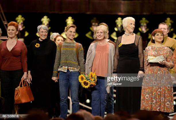 The cast of 'The Girls' and the original Calendar Girls on stage during The Olivier Awards 2017 at Royal Albert Hall on April 9 2017 in London England