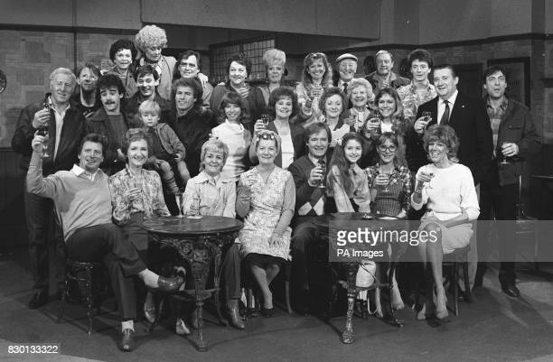 The cast of the Granada TV series Coronation Street celebrate the programme's Silver Jubilee on the set in Manchester R/I 9/2/99 Bryan Mosely died...