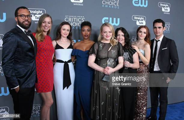 The cast of 'The Handmaid's Tale' poses with the award for Best Drama Series in the press room during The 23rd Annual Critics' Choice Awards at...