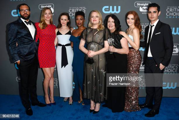 The Cast of 'The Handmaid's Tale' recipients of the Best Drama Series award pose in the press room during The 23rd Annual Critics' Choice Awards at...
