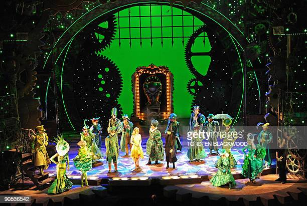 The cast of the highly acclaimed Broadway musical 'Wicked' dance in the Emerald City scene during the preview in Sydney on September 10 2009 'Wicked'...