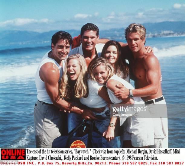 The Cast Of The Hit Television Series Baywatch 19981999 Season Clockwise From Top Left Michael Bergin David Hasselhoff Mitzi Kapture David Chokachi...