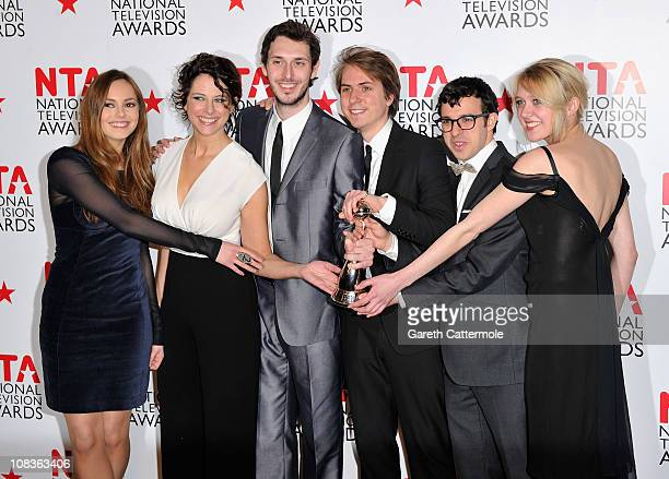 The cast of The Inbetweeners Actors Hannah Tointon Belinda StewartWilson Blake Harrison James Buckley Simon Bird and Emily Head with their Digital...
