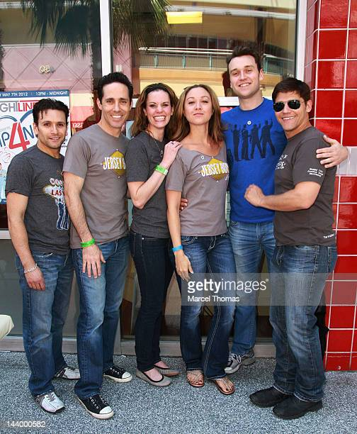 The cast of The Jersey Boys Aaron De Jesus Jeff Leibow Megan Arnold Nikka Wuhl Rob Marnell and Deven May kick off the Neurofibromatosis Network...
