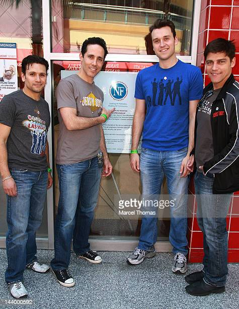 The cast of The Jersey Boys Aaron De Jesus Jeff Leibow Rob Marnell and Deven May kick off the Neurofibromatosis Network Fundraiser at Flightlinez on...