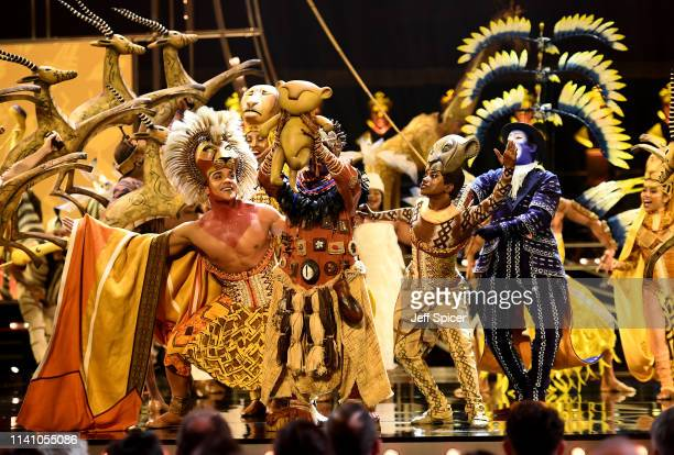 The cast of The Lion King perform on stage during The Olivier Awards 2019 with Mastercard at the Royal Albert Hall on April 07 2019 in London England