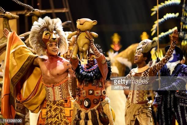 The cast of The Lion King perform on stage during The Olivier Awards 2019 with Mastercard at the Royal Albert Hall on April 07, 2019 in London,...