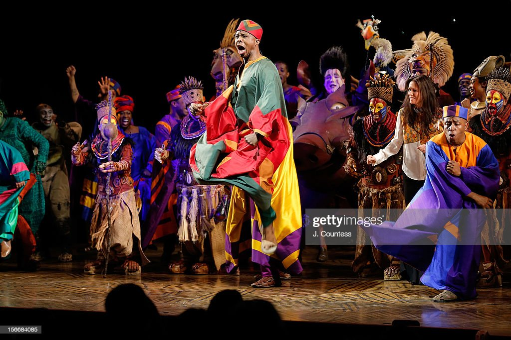 The cast of 'The Lion King' perform onstage during the curtain call for 'The Lion King' Broadway 15th Anniversary Celebration at Minskoff Theatre on November 18, 2012 in New York City.