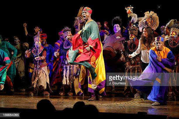 The cast of The Lion King perform onstage during the curtain call for The Lion King Broadway 15th Anniversary Celebration at Minskoff Theatre on...