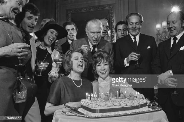 The cast of the longrunning Agatha Christie play 'The Mousetrap' celebrate the production's 20th year London UK 24th November 1972 At the front are...
