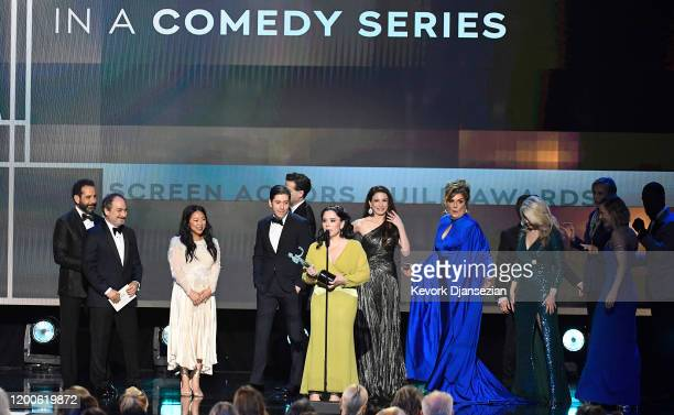 The cast of The Marvelous Mrs Maisel accept the Ensemble in a Comedy Series Award onstage during the 26th Annual Screen Actors Guild Awards at The...