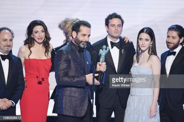"The cast of ""The Marvelous Mrs Maisel"" accepts Outstanding Performance by an Ensemble in a Comedy Series onstage during the 25th Annual Screen..."