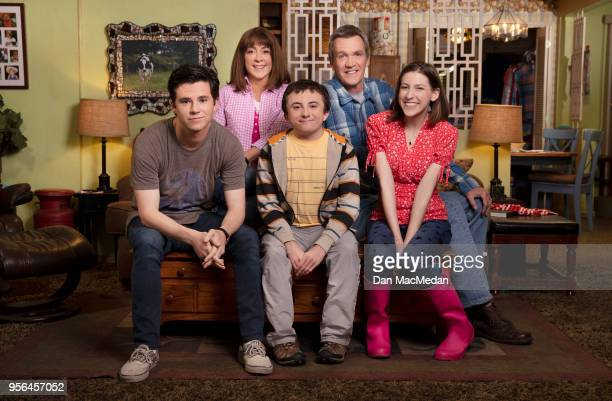 The cast of 'The Middle' Charlie McDermott Patricia Heaton Atticus Shaffer Neil Flynn and Eden Sher are photographed for USA Today on March 22 2018...