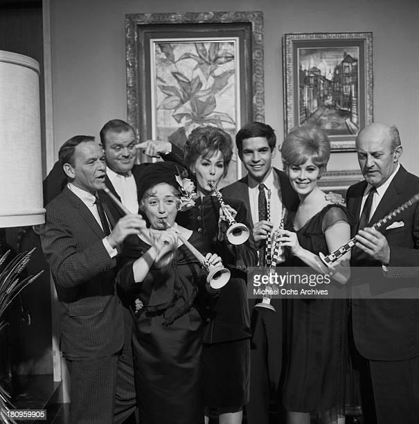 The cast of the movie 'Come Blow Your Horn' Frank Sinatra, Dan Blocker, Molly Picon, Barbara Rush, Tony Bill, Jill St. John and Lee J. Cobb pose for...