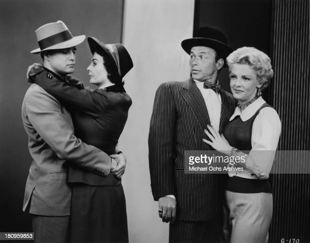 The cast of the movie 'Guys and Dolls' Marlon Brando Jean Simmons Frank Sinatra and Vivian Blaine pose for a portrait in 1955 in Los Angeles...