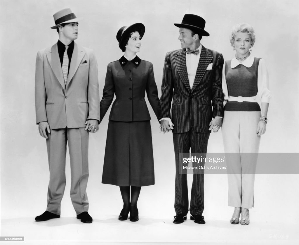 The cast of the movie 'Guys and Dolls' (L-R) Marlon Brando, Jean Simmons, Frank Sinatra and Vivian Blaine pose for a portrait in 1955 in Los Angeles, California.