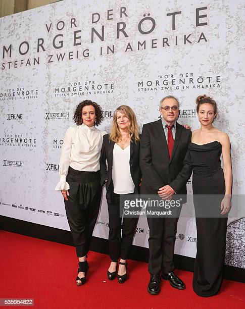 The cast of the movie Maria Schrader Barbara Sukowa Josef Hader and Aenne Schwarz attend the movie premiere of 'Vor der Morgenroete Bevore Dawn' at...
