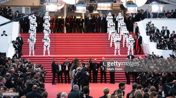 The cast of the movie poses at the screening of 'Solo A Star Wars Story' during the 71st annual Cannes Film Festival at Palais des Festivals on May...