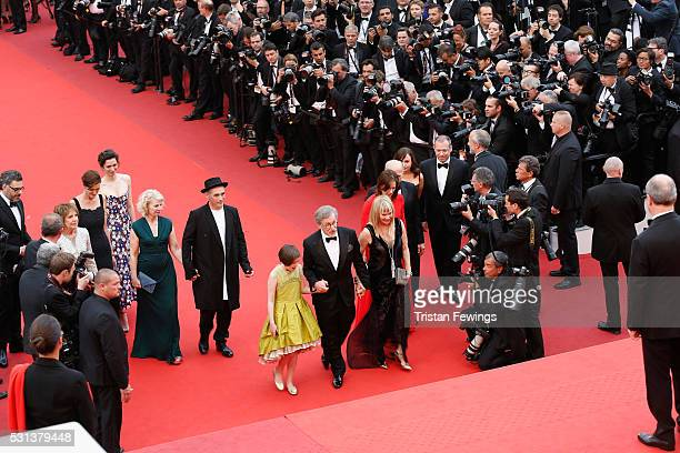 The cast of the movie The BFG climbs the red carpet during The BFG premiere during the 69th annual Cannes Film Festival at the Palais des Festivals...